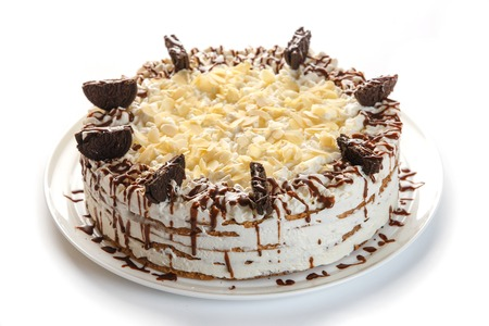 chocolate cake on an isolated white background