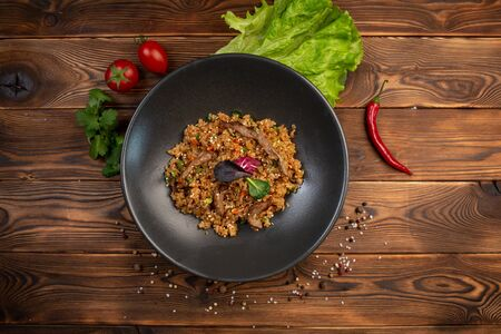 beef chahan fried Japanese rice with vegetables and slices of beef