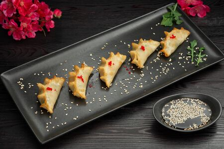 ebi gedza chinese fried dumplings with shrimp and vegetables in a black plate on a dark background, served with sauce