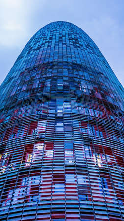 BARCELONA, SPAIN - DECEMBER 19: Torre Agbar on Technological District on December 19, 2011 in Barcelona, Spain. This 38-storey tower was designed by the famous architect Jean Nouvel