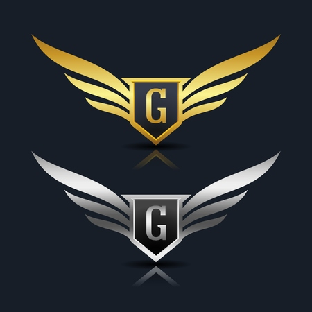 elite sport: Wings Shield Letter G Logo Template
