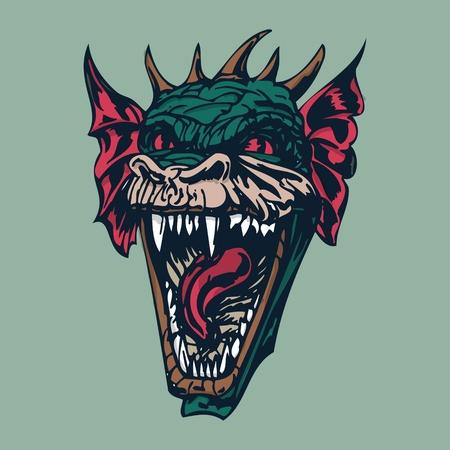 angry dragon head illustration. vector Illustration