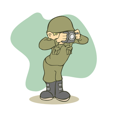 funny Army take Picture Illustration. vector Illustration