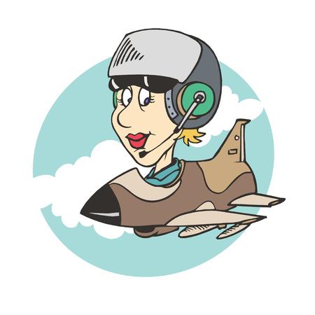 women pilot ridding plane Illustration. vector Illustration