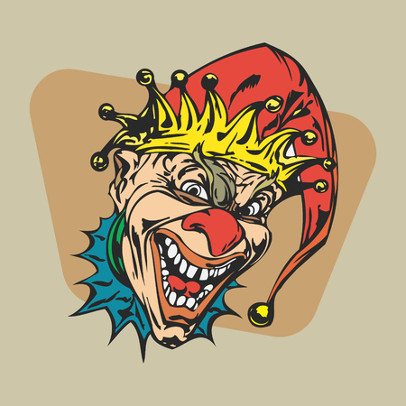 crazy clown clipart.  vector  Illustration. Illustration