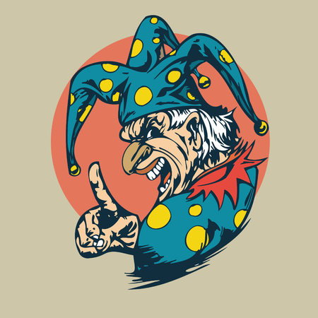 crazy clown clipart.  vector  Illustration Ilustrace