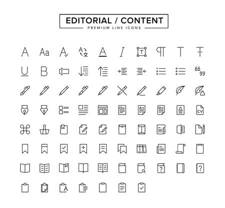 Editorial Content Line Icon Set