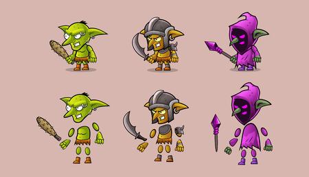 Character  warrior  monster kit Ilustração