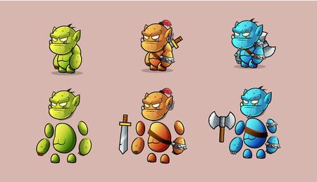 Character  warrior stone monster kit