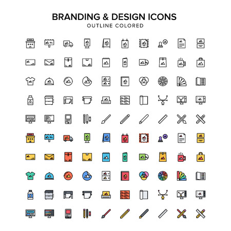 mobile website: branding and design outline colored icons