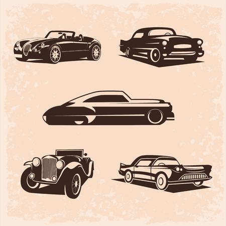 ビンテージ車のセット。 5 高品質ベクトル画像。車は非常にシンプルでクリーンです.