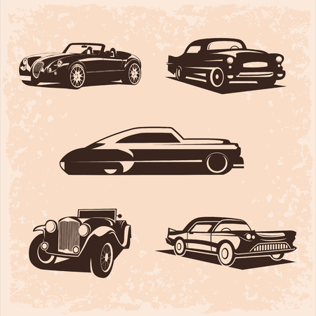 vintage car set.  5 High quality vector image. The car is very simple and clean.