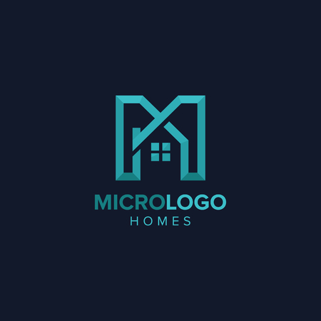文字 M 不動産ロゴの抽象的な文字 M 不動産設計概念図  イラスト・ベクター素材