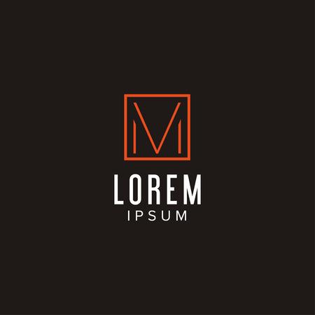 創造的な手紙 M ロゴ コンセプト デザイン正方形、モダンでミニマルなプロフェッショナルな感じで。ブランドのアイデンティティの非常に素晴らし