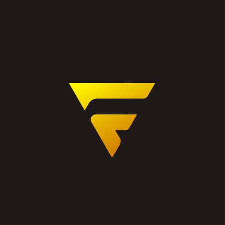 Creative Luxury Letter F concept design with triangular yellow color, modern and luxury professional feel.