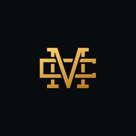 ゴールド色、モダンで創造的な文字 M と C のロゴのコンセプト デザイン、豪華さと専門的な雰囲気。ブランドのアイデンティティの非常に素晴らし  イラスト・ベクター素材
