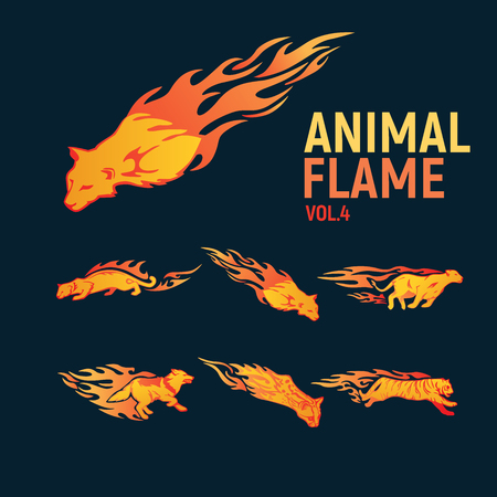 Animal flame mascot set logo Illustration