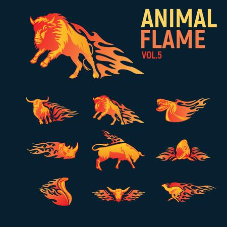 炎の動物マスコットがロゴを設定  イラスト・ベクター素材