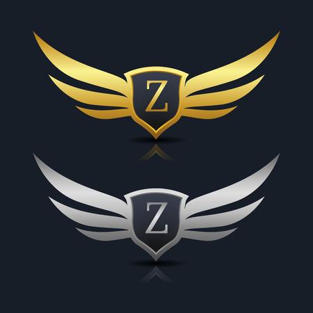 Wings Shield Letter z Logo Template design. Vector Illustration Illustration