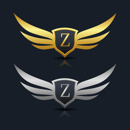Wings Shield Letter z Logo Template design. Vector Illustration Çizim