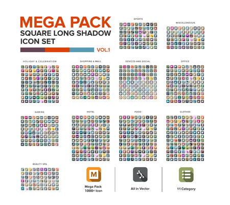 Mega Pack square  Icon set bundle long shadow . Icon set collection Illustration