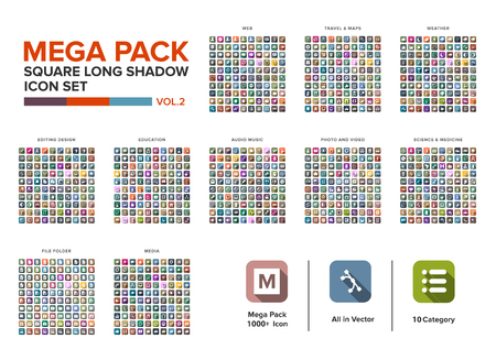 Mega Pack square  Icon set bundle long shadow vol.2. Icon set collection