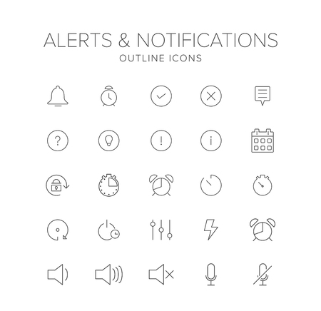 Alerts and Notifications Line Icon Set