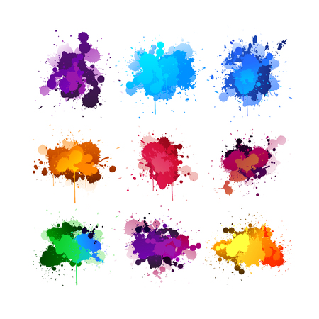 colorful ink splashing element set