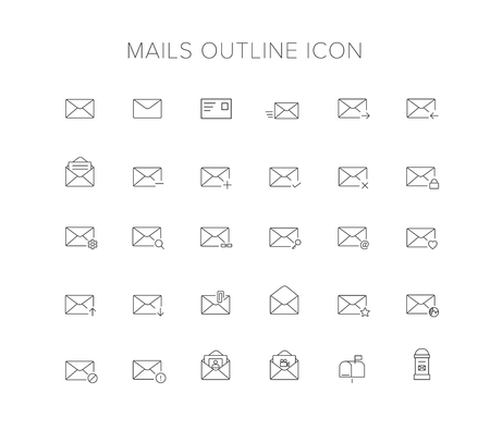 Mails Line Icon Set Illustration