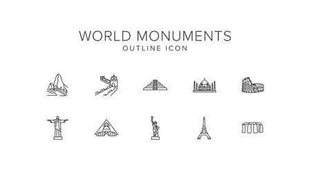 World monuments Line Icon Set Illustration