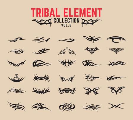 Set di elementi di design tatuaggio tribale. Vettoriali
