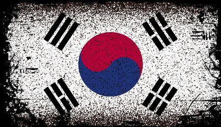south korea Grunge flag. vector Background Illustration