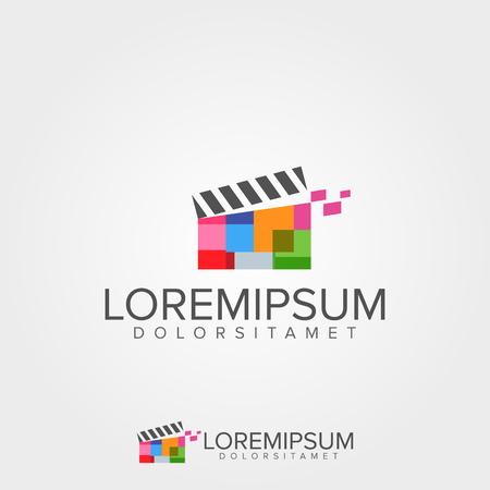 flat screen tv: Media Video Logo Concept Illustration