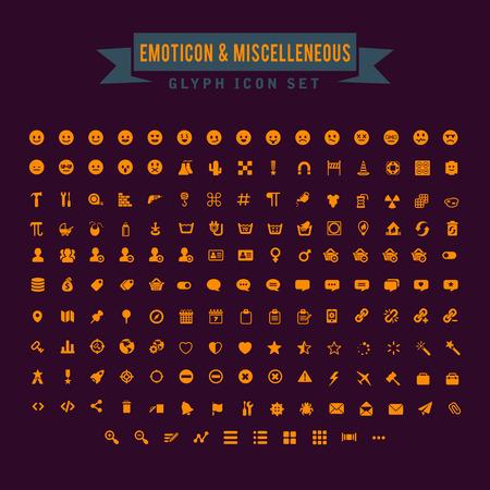 Emoticon And Miscellaneous Glyph Icon Set Illustration