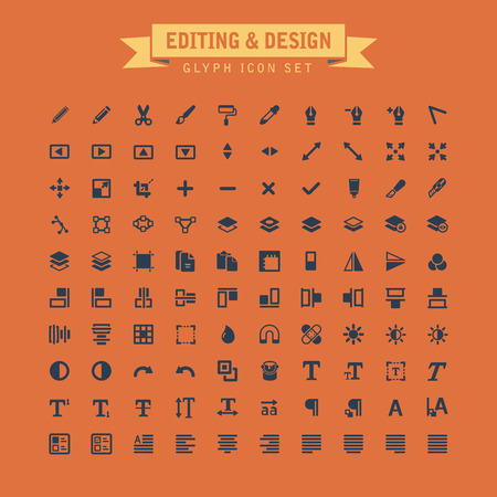 Editing And Design Glyph Icon Set