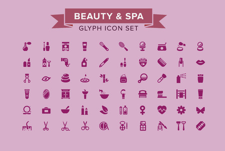 Beauty And Spa Glyph Icon Set