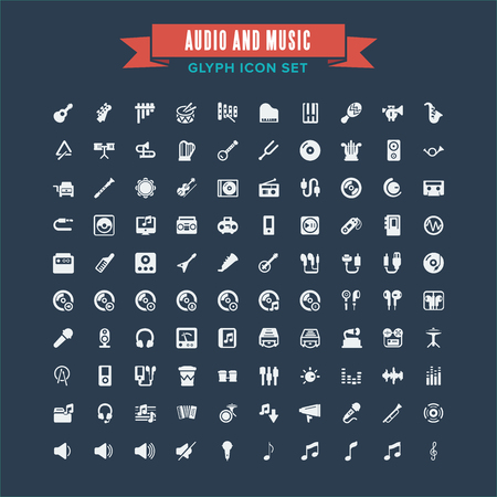 Audio And Instrument Music Glyph Icon Set Иллюстрация