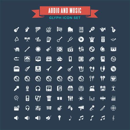 Audio And Instrument Music Glyph Icon Set Illustration