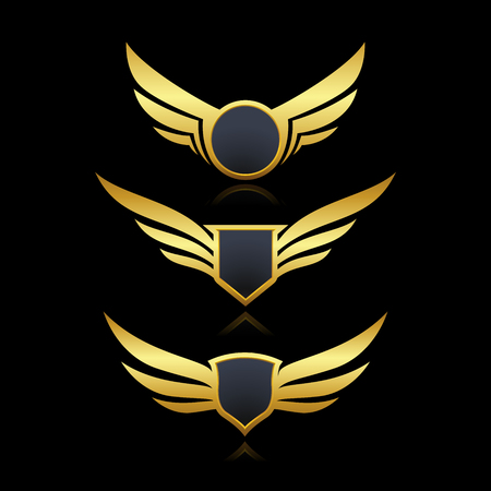 Badge shield wings set