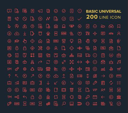 Ícone de linha universal básica definida em vermelho sobre fundo preto