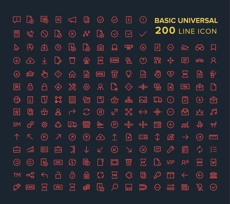 Basic Universal Line icon set in red on black background