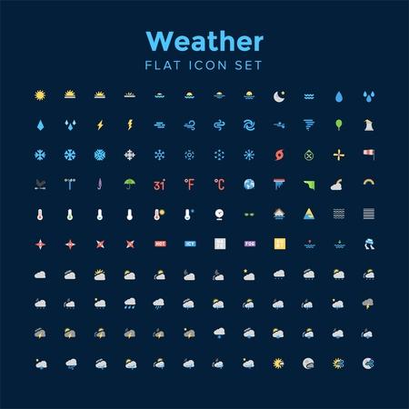 Weather flat icon set.