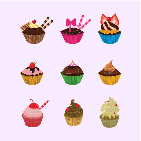 Cupcakes cartoon set