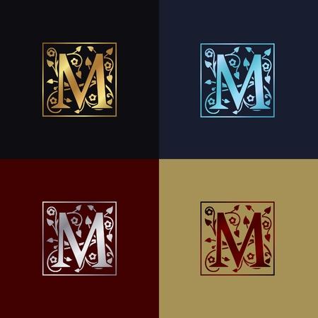 文字 M 装飾的なロゴ