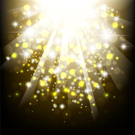 Yellow summer sun light burst. Typographical summer Pattern with bokeh lights. Ilustração