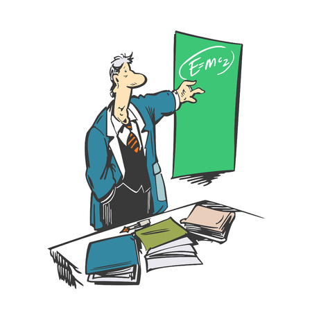 Funny Cartoon professor Making a Presentation. Vector Illustration Illustration