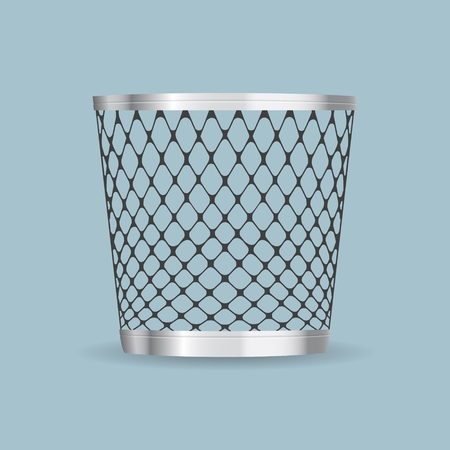 Empty steel trash can realistic vector icon Stock Vector - 77009155
