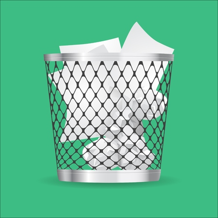 Steel trash can with paper garbage realistic vector icon Illustration