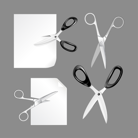 Scissors cutting paper. Scissors isolated on white