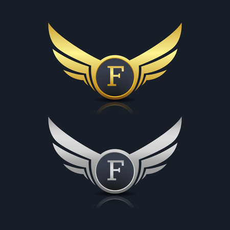 Wings Shield Letter F Logo Template Vectores